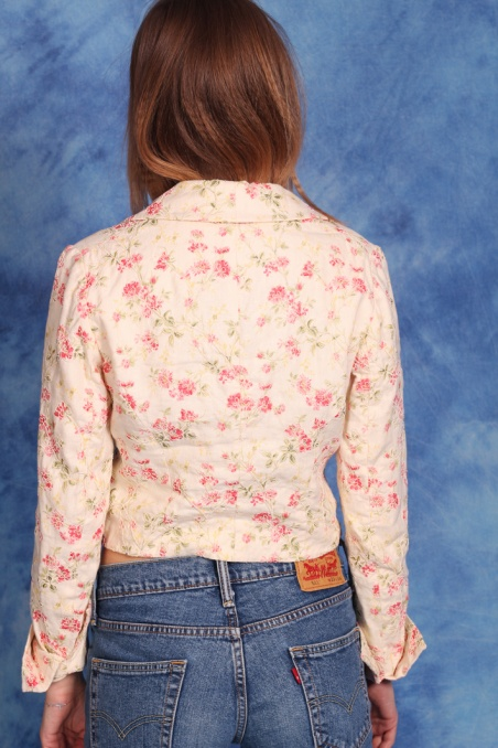 Vintage lniany top w kwiaty...