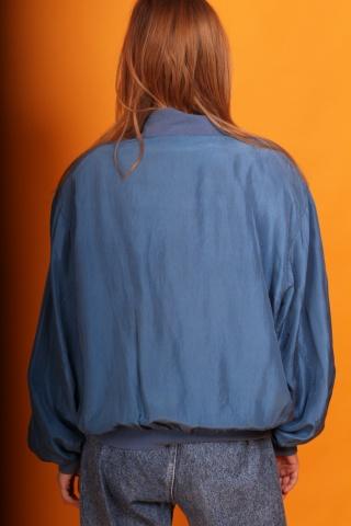 Vintage blue silk bomber...