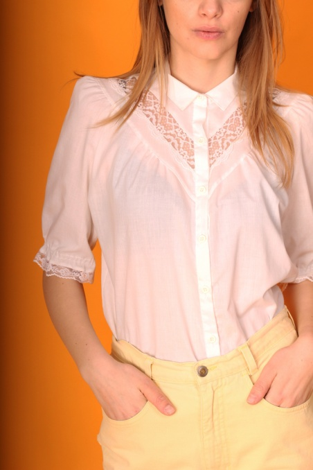 Vintage biała koszula z...