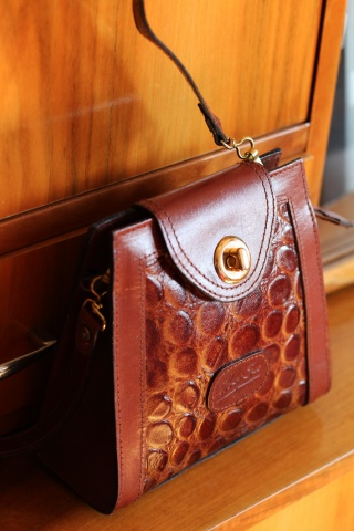 Vintage brown eco leather...