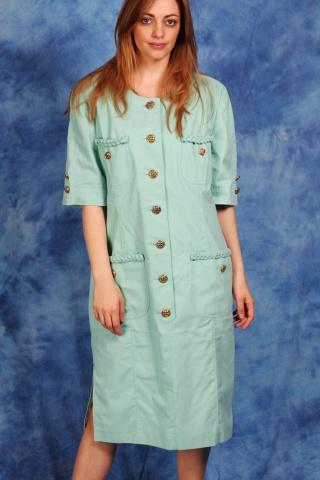 Vintage miętowa sukienka ze...