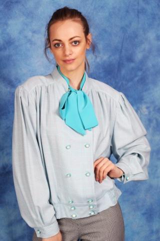 Vintage bluzka w kratę w...