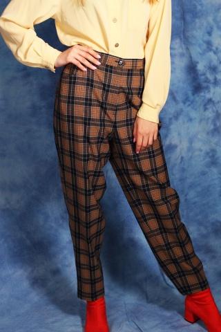 Vintage wełniane kraciaste...