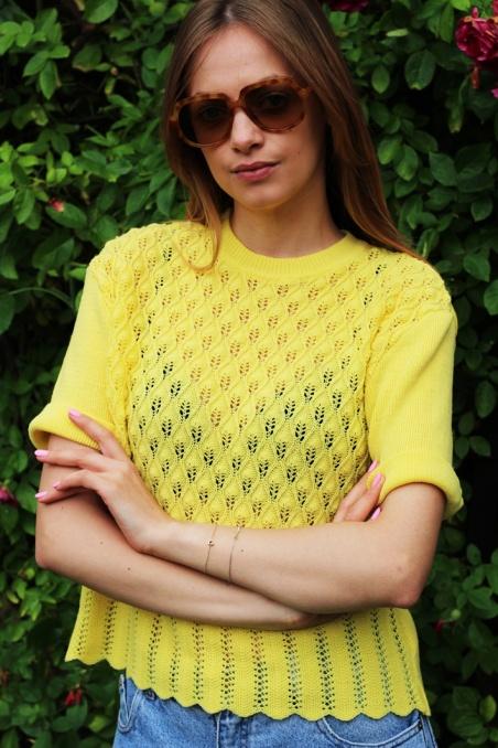 Vintage dzianinowa żółta...
