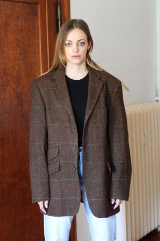 Vintage wełniana tweedowa...