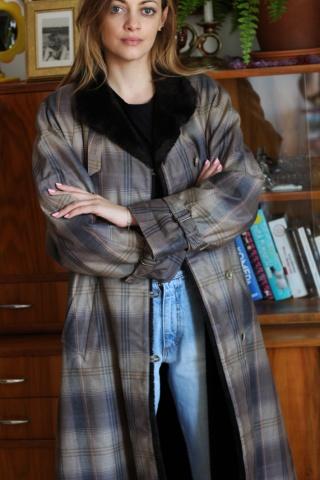 Vintage ocieplany płaszcz w...