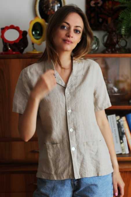 Vintage lniana koszula z...