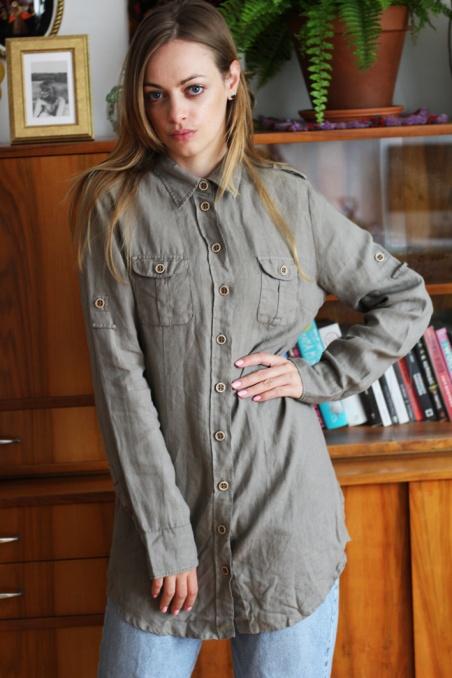 Vintage lniana koszula w...