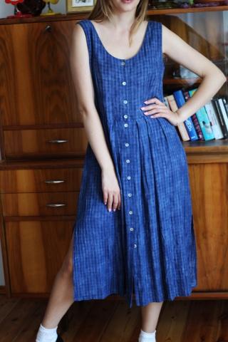 Vintage długa niebieska...