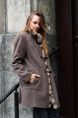 Vintage wełniany płaszcz z...
