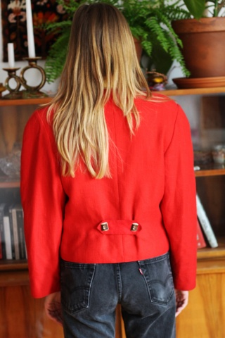 Vintage czerwona lniana...