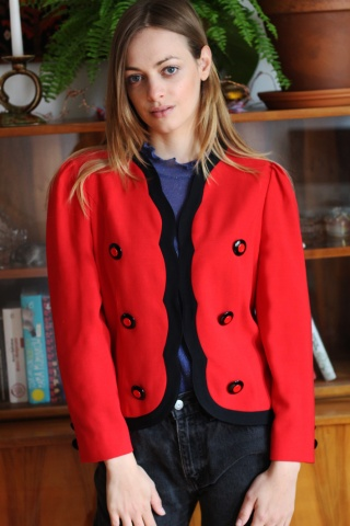 Vintage czerwona wełniana...