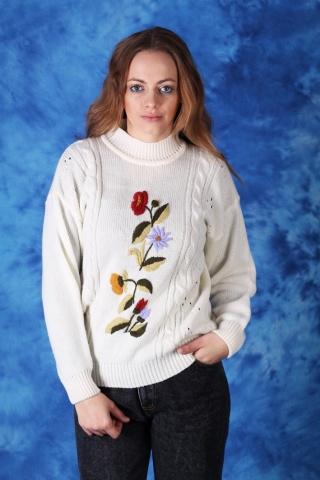 Vintage ciepły biały sweter...