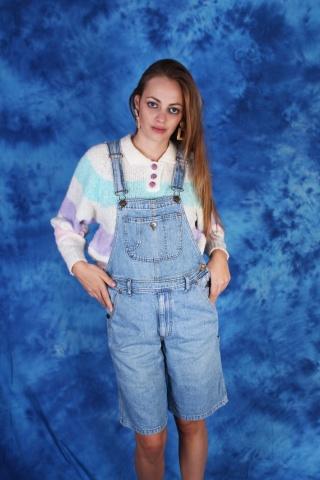 Vintage krótkie niebieskie...