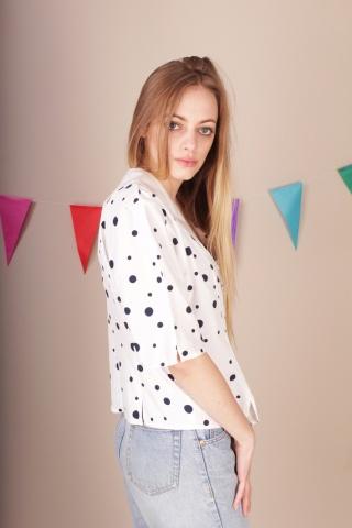 Vintage biala bluzka w...