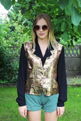 Vintage black blouse with...