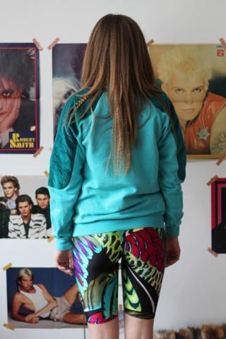 Vintage turkusowa bluza ze...