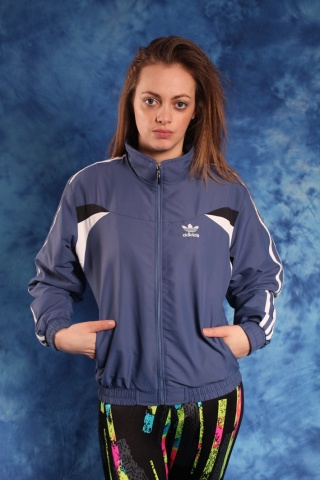 Vintage Adidas blue jacket with logo at the chest 90s vintage