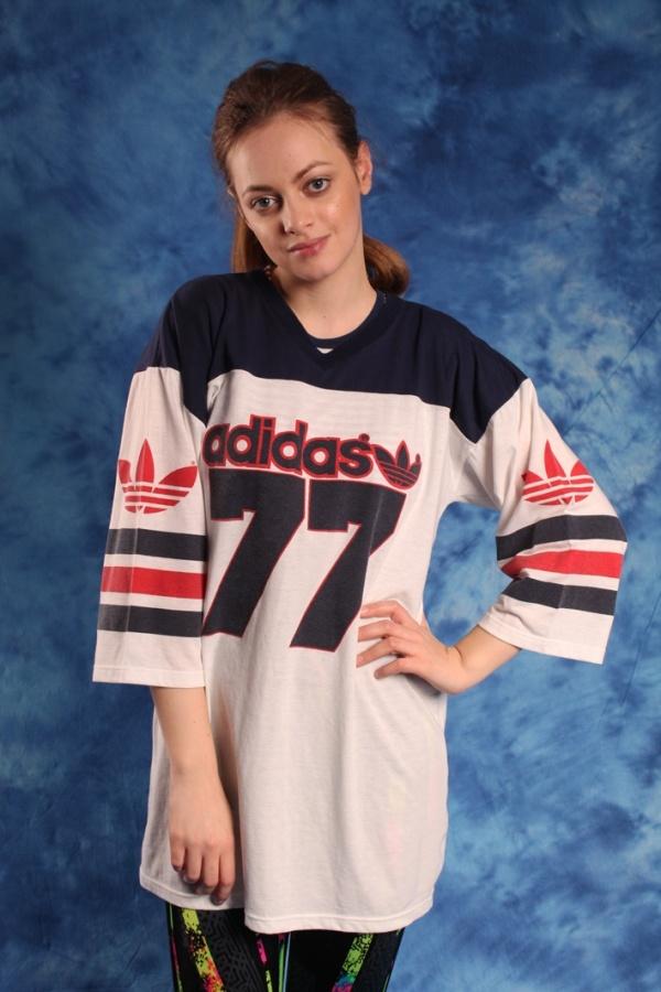Vintage sportowy top Adidas Originals duże logo 80s vintage
