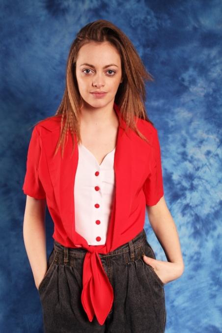 Vintage czerwono-biały top...