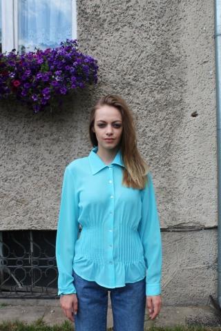 Vintage turkusowa koszula z...