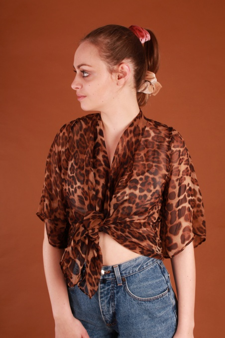 Vintage wiązany top w...