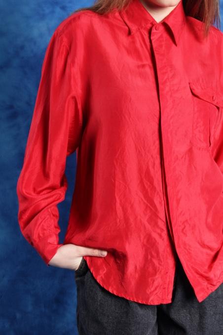 Vintage czerwona jedwabna...
