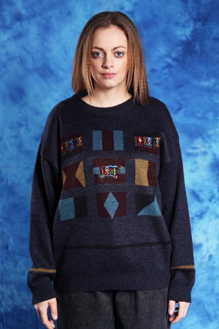 Vintage granatowy sweterek...