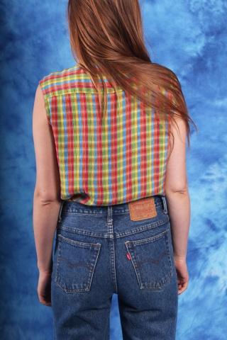 Vintage zwiewna bluzka w...
