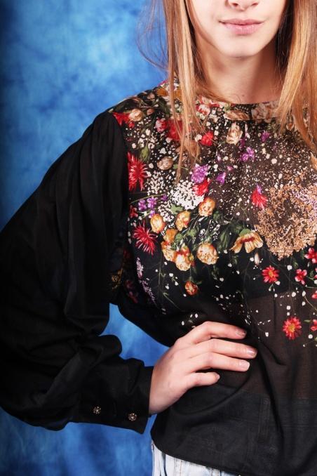 Vintage zwiewna bluzka z...