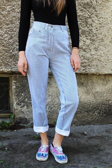 Vintage cotton blue striped...