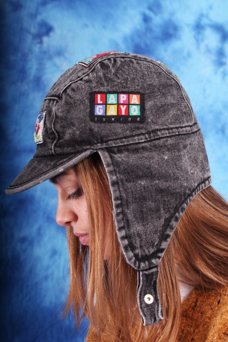 Vintage grey denim cap with...