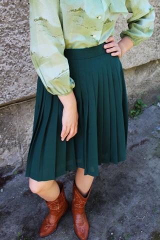 Vintage plisowana zielona...