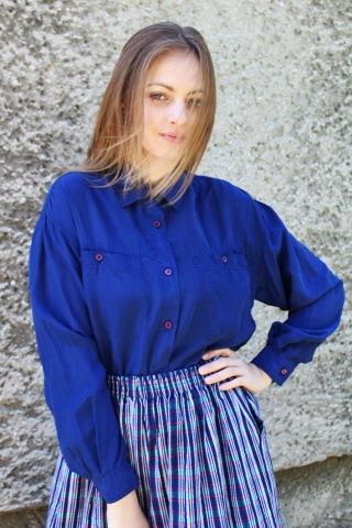 Vintage niebieska jedwabna...