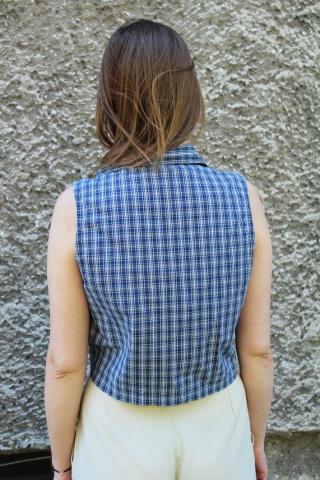 Vintage niebieski kraciasty...