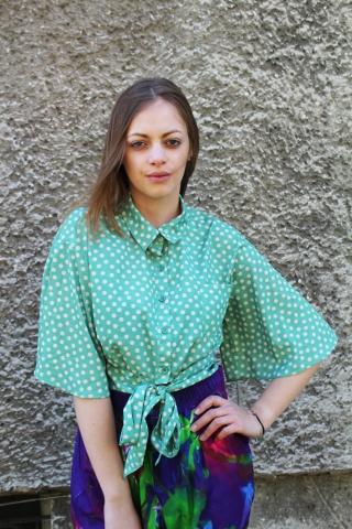 Vintage zielona bluzka w...