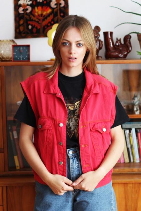 Vintage czerwona jeansowa...