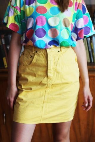 Vintage żółta jeansowa...