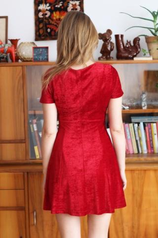 Vintage czerwona welurowa...