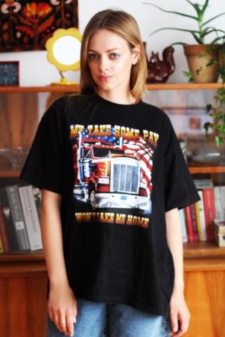 Vintage czarny  t-shirt z...