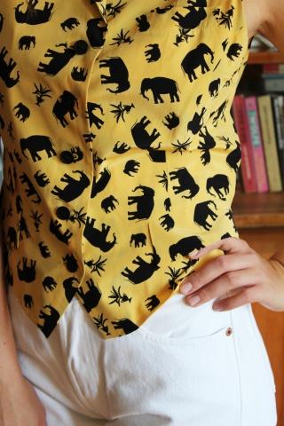 Vintage jedwabna  żółta...