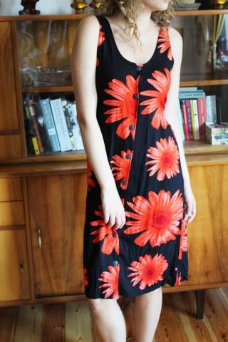 Vintage zwiewna sukienka w...