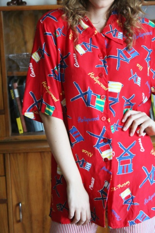Vintage red crazy patterned...