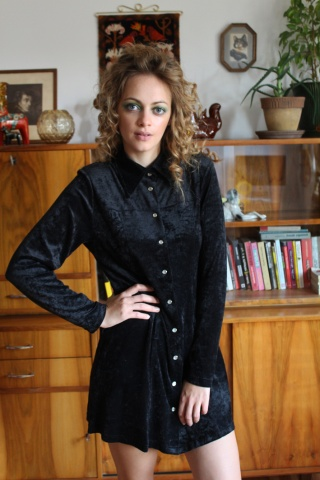 Vintage czarna  welurowa...