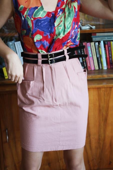 Vintage lniana  spódnica...