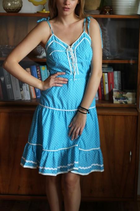 Vintage niebieska sukienka...