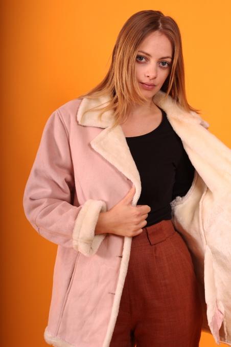 Vintage różowy kożuszek 90s...