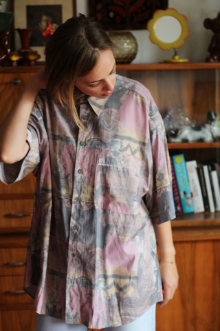 Vintage  kolorowa koszula z...