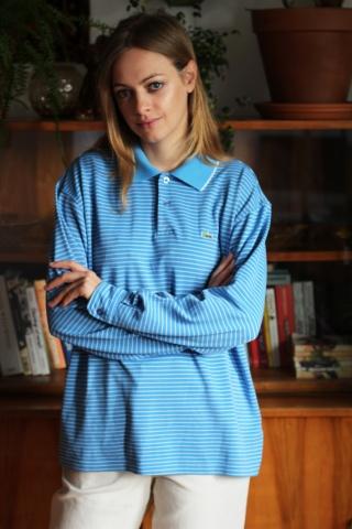 Vintage cool blue striped...