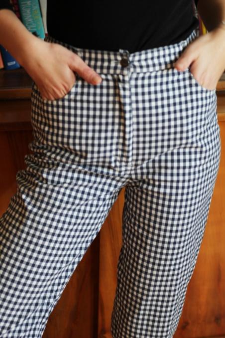 Vintage spodnie w kratkę z...